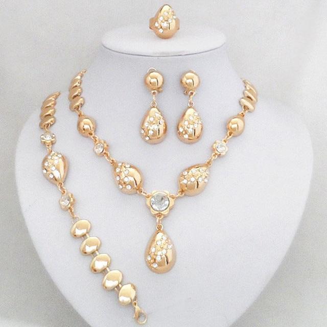 Or Couleur Cristal Dubaï Mode Femme Ensemble de Bijoux Pour Le Mariage