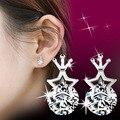 Серьги стержня Женщины 2016 Новая Мода Горный Хрусталь Императорская корона Пентаграмма Звезда циркон CZ Diamond Crystal Ювелирные Изделия