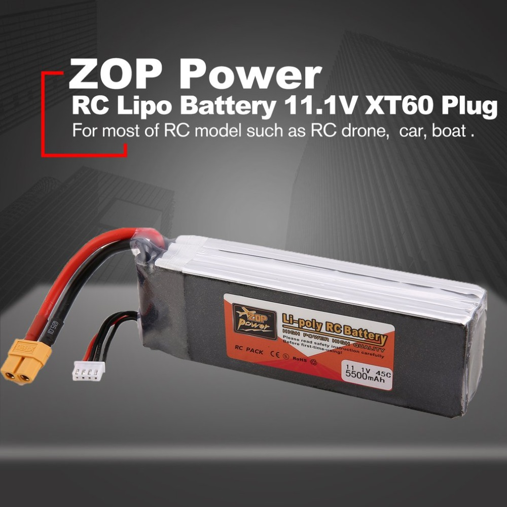ZOP Power 11.1V 5000mAh 60C 45C 3S 1P Lipo Battery XT60 Plug Rechargeable For RC Racing Drone Quadcopter Helicopter Car Boat