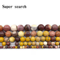 Natural Stone Mookaite Egg Yolk Loose Beads 4 6 8 10 12MM Fit Diy Bracelet Necklace For Jewelry Making Wholesale