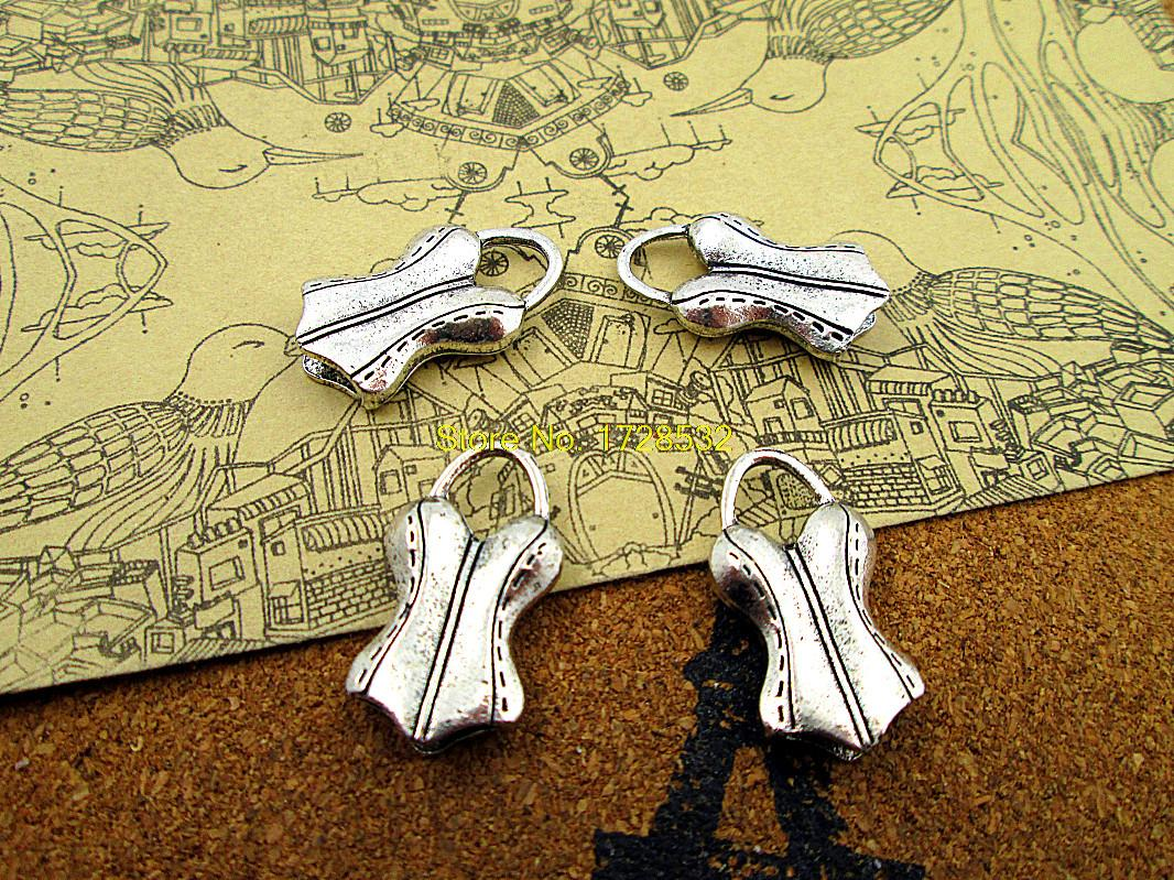 6pcs Corset Charms Antique Tibetan silver 3D Corset Charms pendants 26x13mm