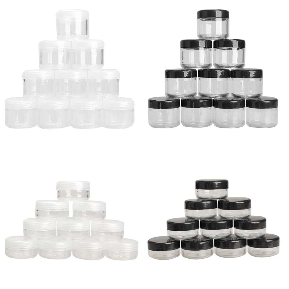 Black/Clear 10g/20g 10Pcs Plastic Empty Box Nail Art Cosmetic Bead Gems Storage Case Bottle Pot H7JP 25 50 storage bottle plastic empty box case pot 4 nail art rhinestone bead gems