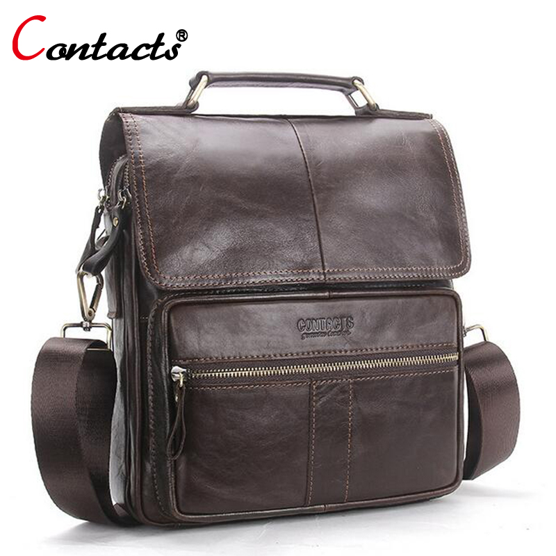 CONTACT'S Men Bag Genuine Leather Shoulder Bags Handbag Men Luxury Brand Male Handbags Crossbody Messenger Bags Handbag 2017 New neweekend genuine leather bag men bags shoulder crossbody bags messenger small flap casual handbags male leather bag new 5867