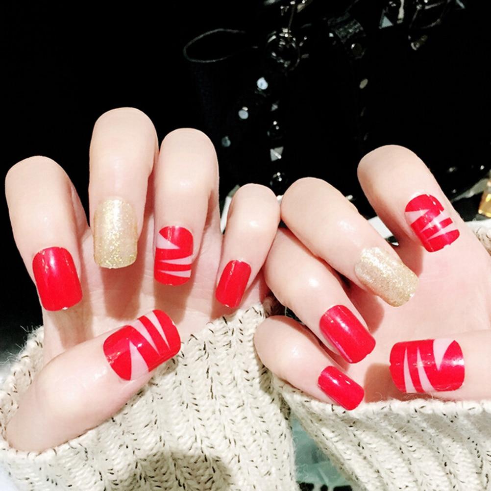 pcs red nail tip artificial