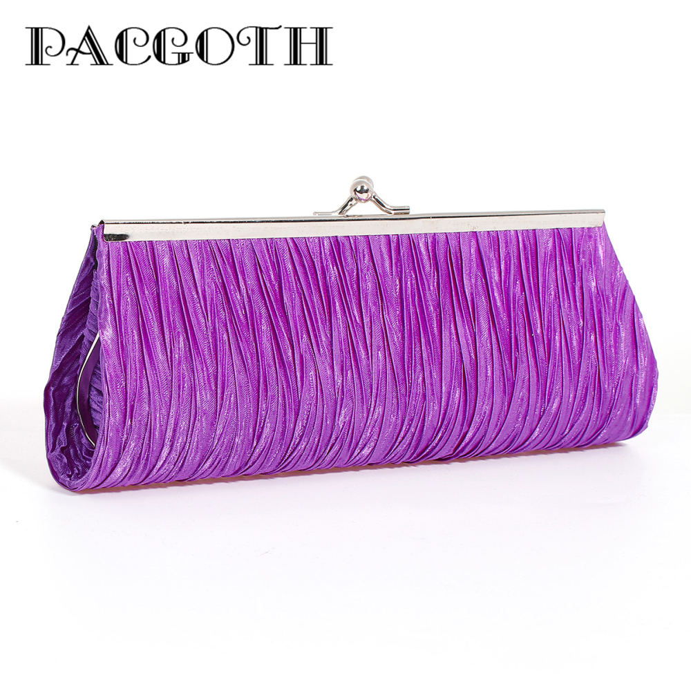 PACGOTH New Fashion Smooth Satin Rectangle Purple White Evening Bag Lady Clutches Purse Dress Party Wedding Wallet, 3 Color,1 PC