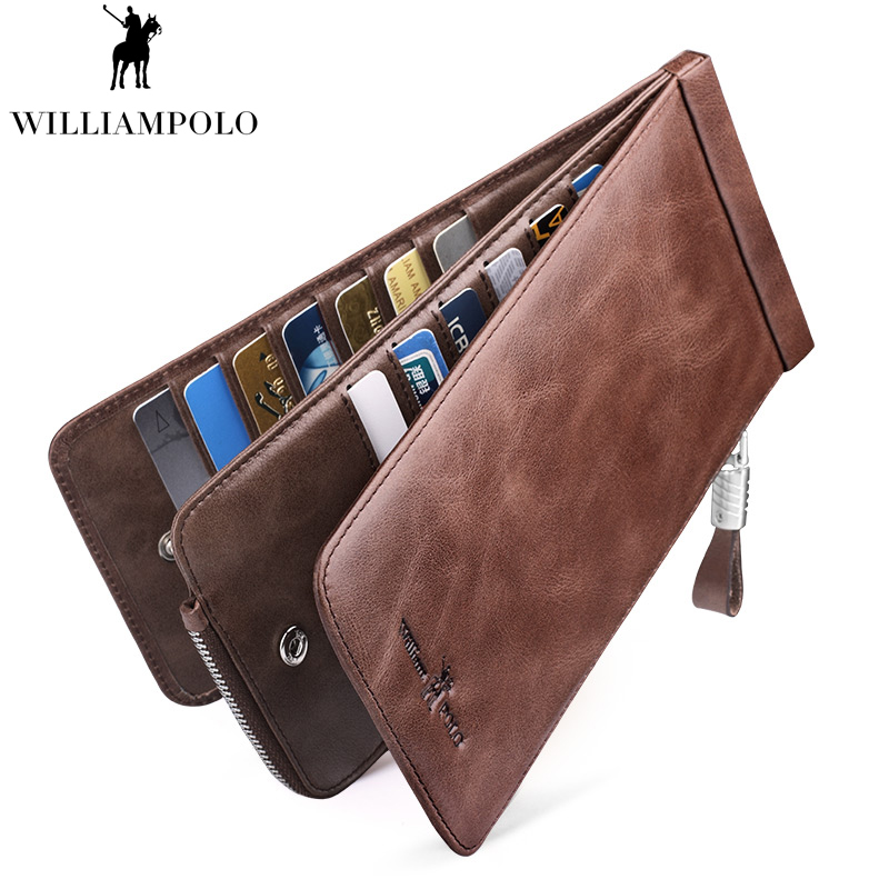 WILLIAMPOLO Vintage cuir 26 porte-cartes fin pour hommes d'affaires hommes portefeuille porte-cartes PL185135