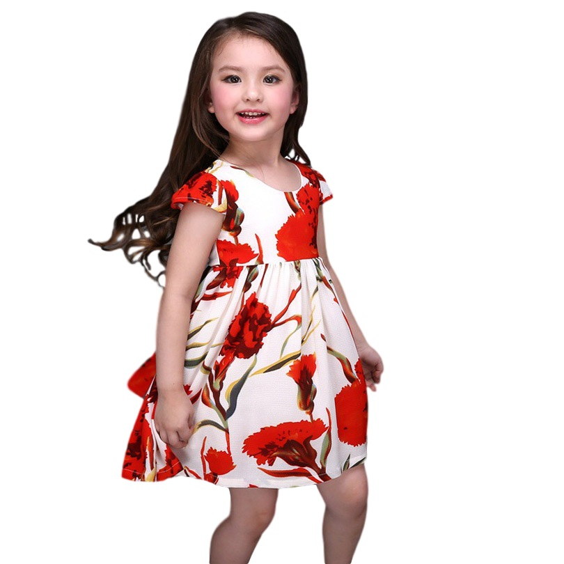 Summer Girls Dress Flower Girl Gown For Teenagers Children Party Frock Baby Kids Princess 3-12year old