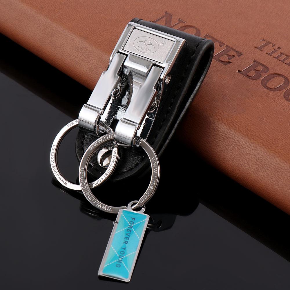 1PC Leather Belt Keychain Key Ring Holder Key Fob Buckle Clip 2 Loops Keyring