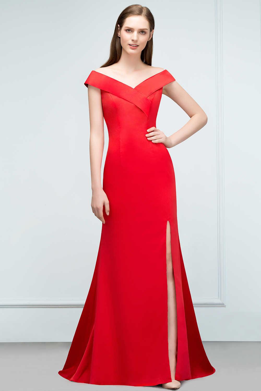 dc14de40b ... Vestidos de fiesta largos vestidos de fiesta elegantes de gala sin  mangas rojo satinado sirena Formal ...