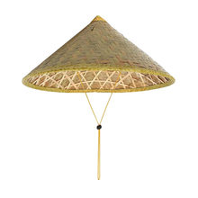 Handmade Weave Straw Hat Chinese Style Bamboo Rattan Hats Steeple Tourism Sunshade Rain Caps Fisherman Bucket Hat 2018(China)