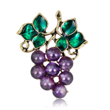 2019 Luxury Crystal Grape Brooches Women Ladies Collar Dress Scarf Buckle Hat Pin for Wedding Party Jewelry