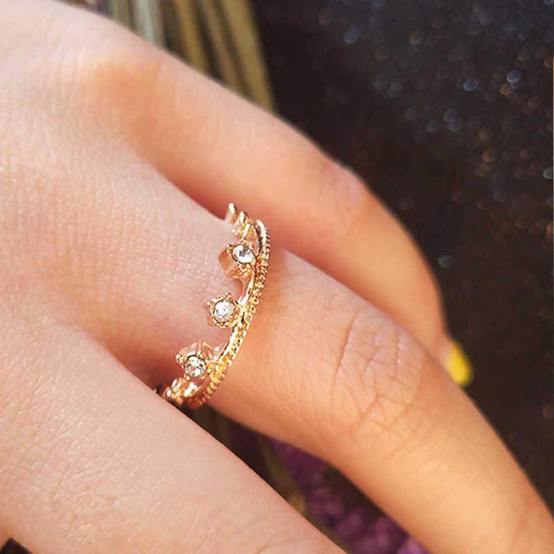 New Fashion Women Charm Rhinestone Inlay Ring Bridal Engagement Wedding Party Ring Jewelry Elegant Ring Wholesale