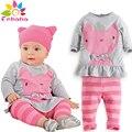 Baby girl одежда 2016 бренд Осень зима новорожденных девочек одежда мультфильм cat с длинным рукавом футболка + полоса пант набор костюм bebes