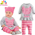 baby girl clothes 2016brand Autumn winter newborn baby girls clothing cartoon cat long sleeve t-Shirt+stripe pant set suit bebes