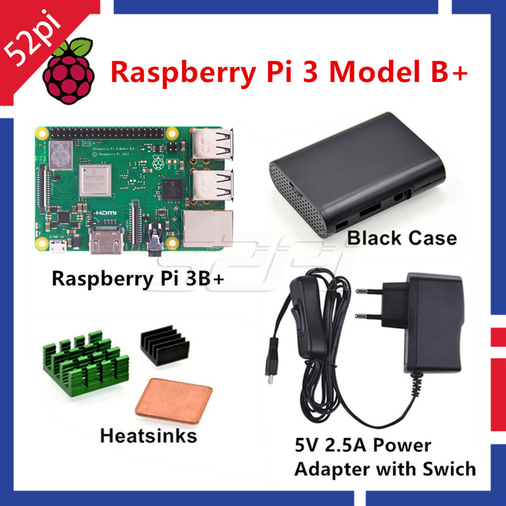 52Pi Raspberry Pi 3 Starter Kit with Raspberry Pi 3 Model B 5V 2 5A EU