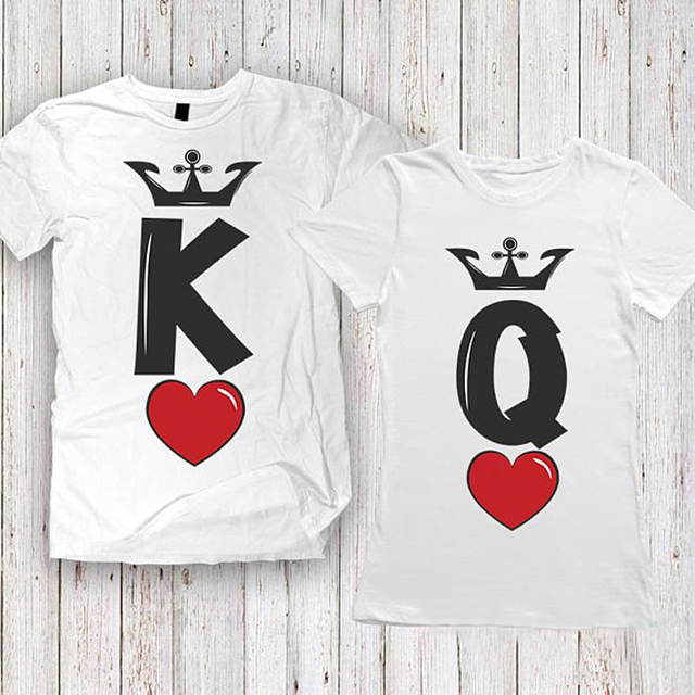 be7b4012c96b Summer Fashion KING QUEEN Red heart Letters Print T-Shirt Men Women  Matching T Shirt Casual Funny Couples Lover Couple T Shirt
