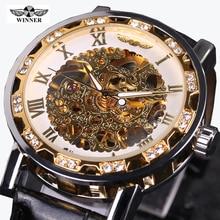 Heren Horloge Ganador Esqueleto Mecánico Reloj de Los Hombres Correa de Cuero Relojes Hombres de Lujo de Oro Relojes Mecánicos Mens Erkek Kol Saati