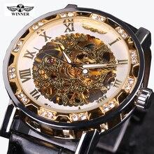 Heren Horloge Winner Watch Men Leather Strap Mechanical Skeleton Watches Men Luxury Gold Mechanical Watches Mens Erkek Kol Saati