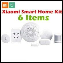 Xiaomi Smart Home Kit Mijia 6 in1 Passerelle + Porte Fenêtre + Température Humidité + Corps Humain Capteur + Sans Fil commutateur + Zigbee Prise