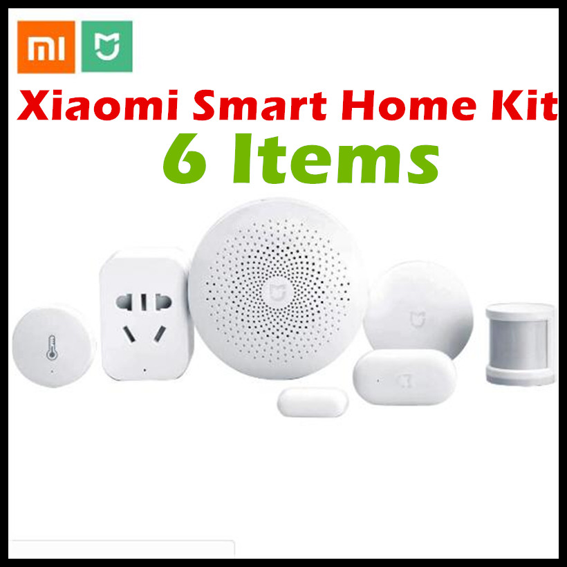 Xiaomi Smart Home Kit Mijia Gateway (Version 2)+Door Window+Temperature Humidity+Human Body Sensor+Wireless Switch+Zigbee Socket original xiaomi smart home kit gateway door window sensor human body sensor wireless switch multifunctional smart devices sets