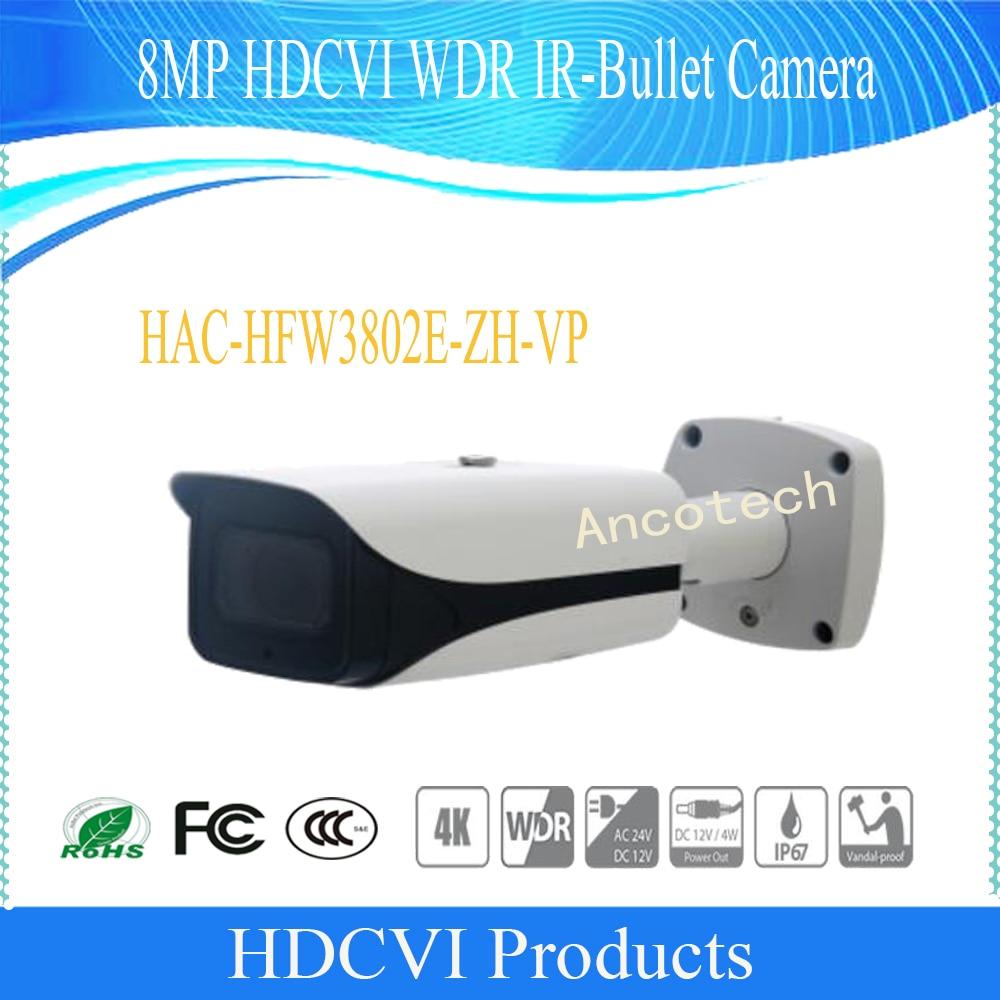 Free Shipping DAHUA Security CCTV Camera 8MP HDCVI WDR IR-Bullet Camera IP67 IK10 Without Logo HAC-HFW3802E-ZH-VP free shipping dahua cctv camera 4k 8mp wdr ir mini bullet network camera ip67 with poe without logo ipc hfw4831e se