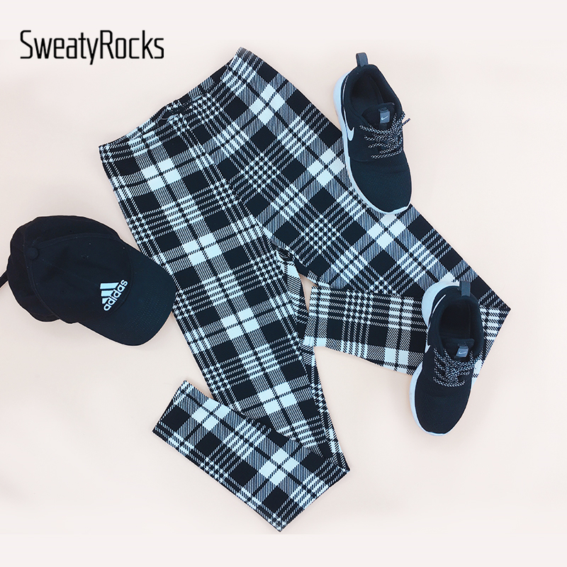 Image 5 - SweatyRocks Fitness Black and White Plaid Print Leggings Mid Waist Workout Leggings 2018 Autumn Women Casual Pants And Trousers-in Leggings from Women's Clothing
