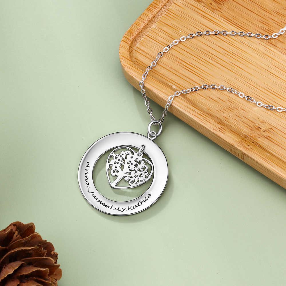 אישית עץ של חיים לחרוט שם שרשרת 925 כסף סטרלינג אישית שרשראות & תליוני משפחת מתנות (JewelOra NE102380)
