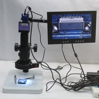 Full HD Video Microscope Camera 1080P 60FPS VGA Output 180X 300X LED Lights Workbench With 10-inch Monitor Phone Repair