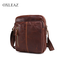 4143c18e007 OXLEAZ Casual Small Male Crazy Horse Leather Man Bag Shoulder Bags Retro  Genuine Leather Crossbody Bags