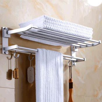 35cm Foldable Wall Mounted Space Aluminum Towel Storage Hanger Shelf Holder Stand Rack with 4pcs Hooks for Home Hotel Bathroom фото