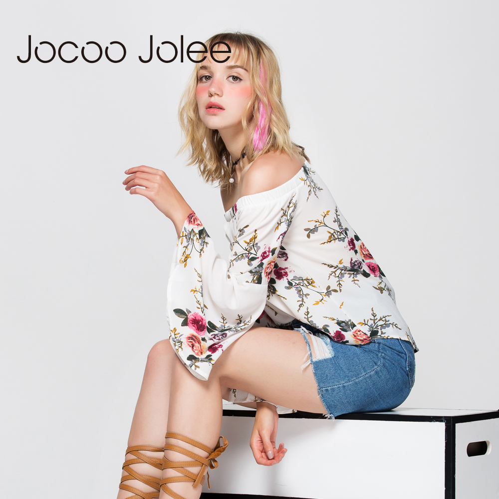 Jocoo Jolee Ženy Off Rameno Halenka Sexy Full Butterfly Sleeve Květinový Tisk Top Loose Crop Tops Casual Tee Beach Cute Shirt