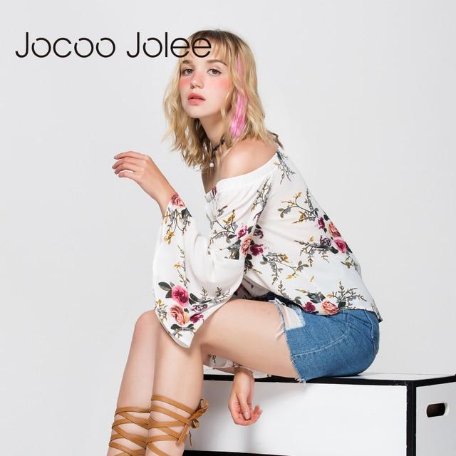Jocoo Jolee Women Off Shoulder Blouse Sexy Full Butterfly Sleeve Floral Print Top Loose Crop Tops Casual Tee Beach Cute Shirt