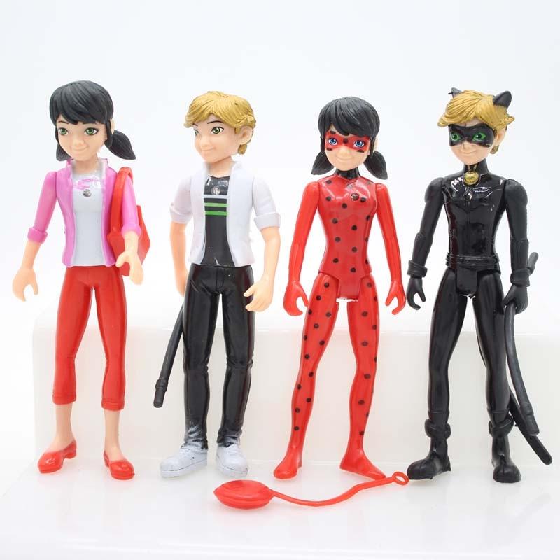 4pcs/lot Miraculous Ladybug Comic Ladybug Girl Doll Box Action Figure Toys Cute Vinyl Anime Toys for Children Birthday Gifts schleich гольштинская корова