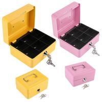 1Pc Mini Portable Steel Petty Lockable Cash Money Safe Security Box Household