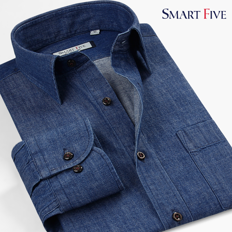 Smart five Brand High Quality Male Shirts Slim Smart Casual Business Cotton Long Sleeve Denim Shirt Men Plus Size 5XL 6XL