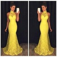 2019 High Neck Mermaid Lace Yellow Evening Dress Sweep Train Formal Long Custom Vestidos De Festa Slim Sleeveless Vestidos