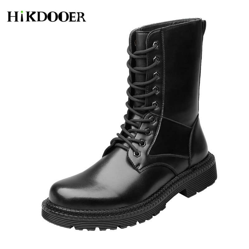 New Martin Military Boots Genuine Leather Shoes Lace-up Fur Boots For Men Autumn Winter Shoes Botines Hombre