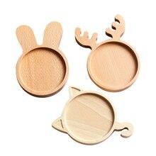 Wooden Tray Dinnerware Sets Plates Dishes Cat Rabbit Deer Shape Food Dessert Tea Fruit Nuts Tableware Kitchen Dining Bar Items