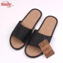 Neue 2016 Berühmte Marke Casual Männer Sandalen Sommer Leder Leinen Hausschuhe Sommer Schuhe Flip-Flops Schnelles Verschiffen