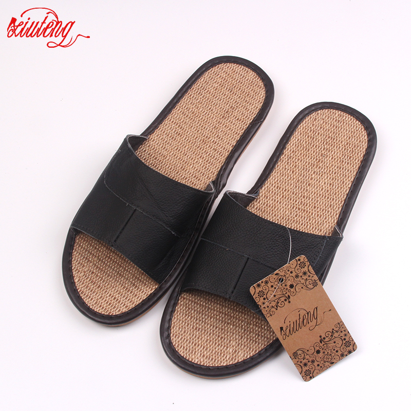 New 2018 Famous Brand Casual Men Sandals Summer Leather Linen Slippers Summer Shoes  Flip Flops Fast Shipping