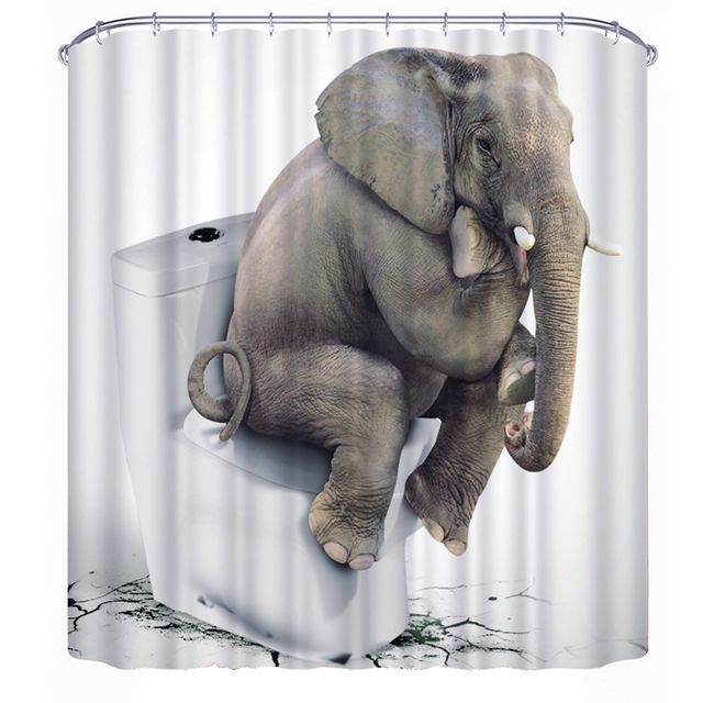 Elephant Shower Curtain Bathroom Waterproof Fabric Thinkers Polyester Animal Curtains Shelter 180180cm