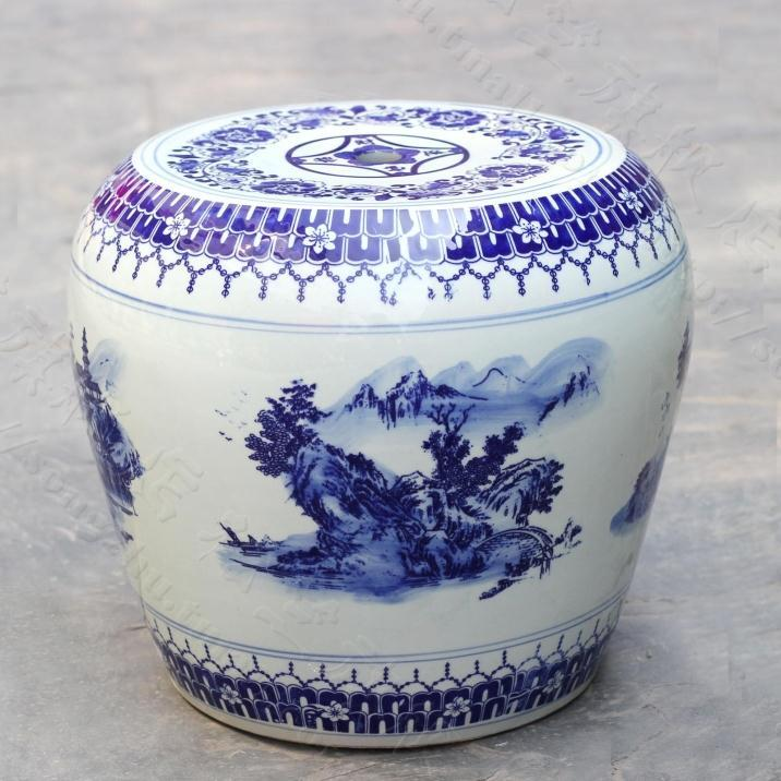 China Painting Blue And White Ceramic Drum Porcelain