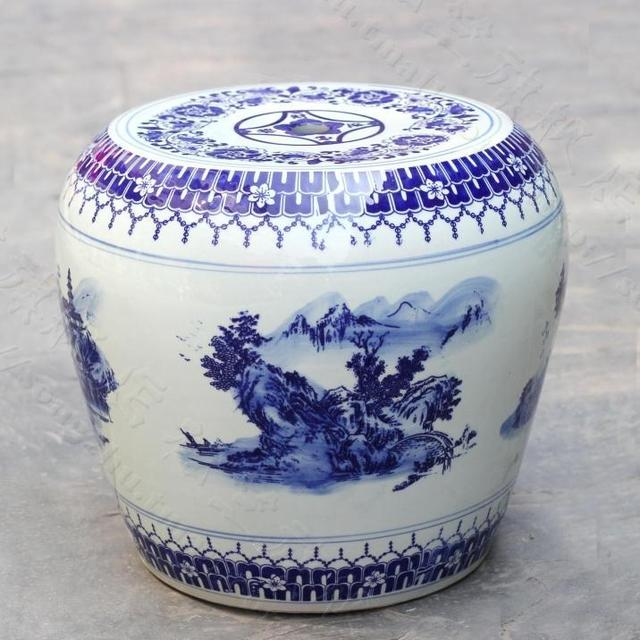 China Painting Blue And White Ceramic Drum Porcelain Garden Stool Glazed  Ceramic Antique Porcelain Chinese Garden