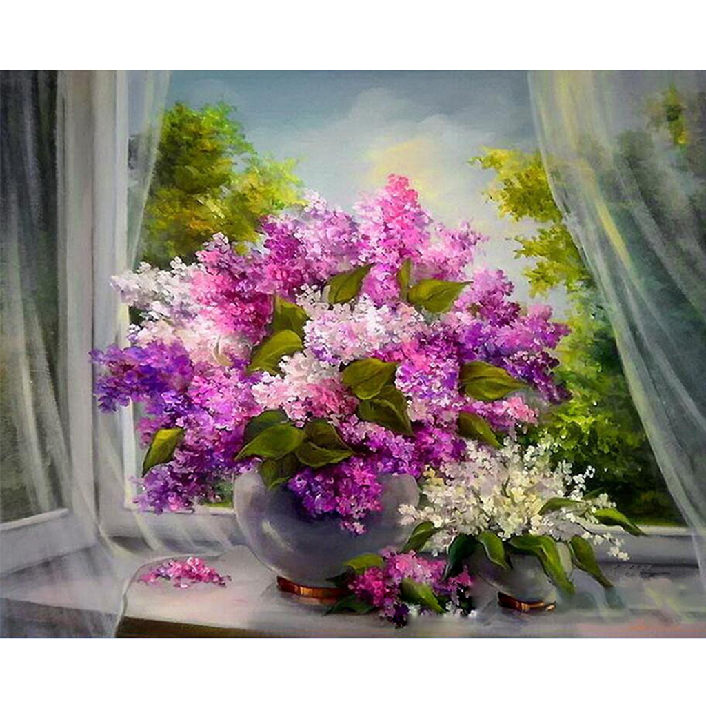 Frameless Violet DIY Painting By Numbers Kits Acrylic Paint On Canvas Home Wall Art Picture Artwork Dector W229
