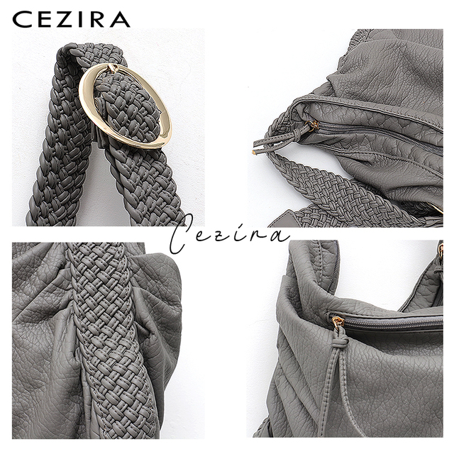 CEZIRA Big Soft Casual Women Bags Girl Wash PU Leather School Handbag Ladies Adjustable Woven Buckle Belt Messenger&Shoulder Bag 3