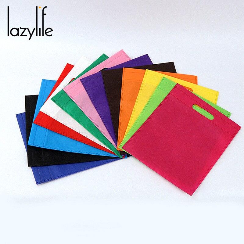 LAZYLIFE 100psc sac à provisions Non-tissé sacs en tissu pliant sac à provisions pour la promotion/cadeau/chaussures/épicerie sacs boutique 4 taille