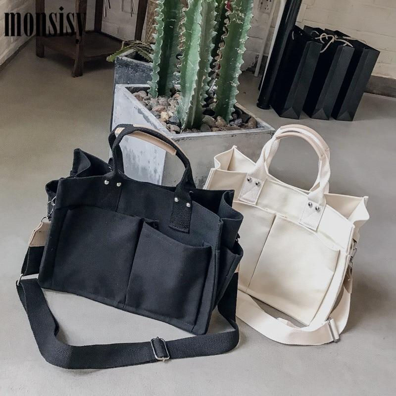 3e5c04c6a30b Monsisy Женская Холщовая Сумка для покупок женская сумка на плечо большая  емкость Карманы девушка мессенджер,