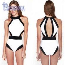 High Quality bikini High Cut Patchwork One Piece Swimsuit Women High Neck Swimwear White Black Bathing Suit Backless Swim Wear