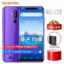 OUKITEL C12 Pro 6,18 «19:9 Android 8,1 мобильный телефон MT6739 4 ядра 2G Оперативная память 16G Встроенная память отпечатков пальцев 4G 3300 mAh смартфон Face ID