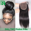 Cheap Virgin Brazilian Lace Closure Bleached Knots Silky Straight Human Hair Lace Front Closure Piece Free Middle 3 Part Closure